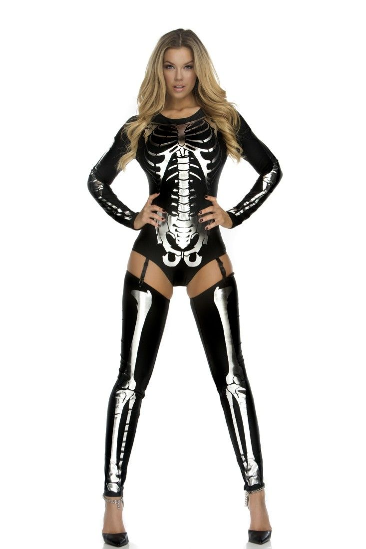 Snazzy Skeleton 3 Pc. Costume includes, bodysuit with skeleton print, thigh highs, and garter straps.http://www.amiclubwear.com/costume.html