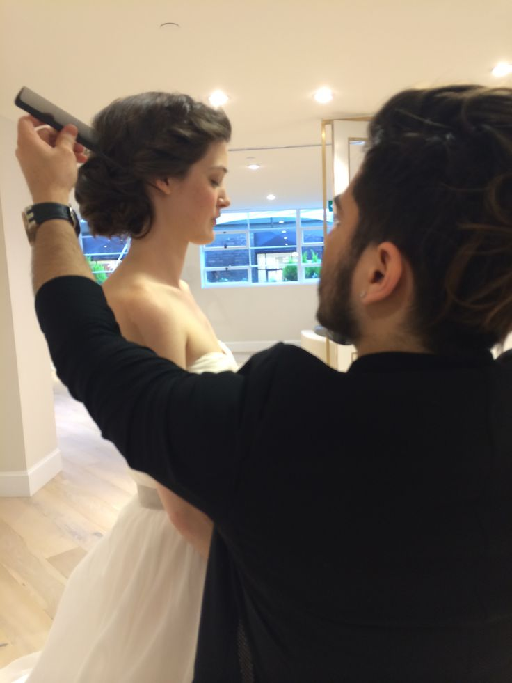 Gabo doing final hair touch ups at the Kleinfeld by Hudson's Bay open house in Toronto 2014