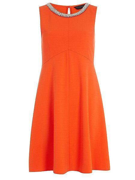 Embellished Crepe Fit and Flare Dress