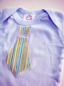 How to add an Applique to a Onesie...perfect for baby shower gifts! The tie is adorable but I bet easy animal shapes would work too!