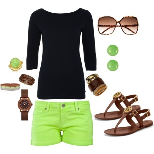 black and neon green outfit fashion, i dislike the brown shoes and accessories but switch them out for black and you got it.
