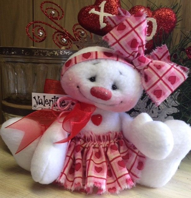 "Primitive HC Raggedy Valentines Day Snowman Snow Girl Hearts Love  Doll 5"" Cute  #IsntThatCute #ValentinesDay"