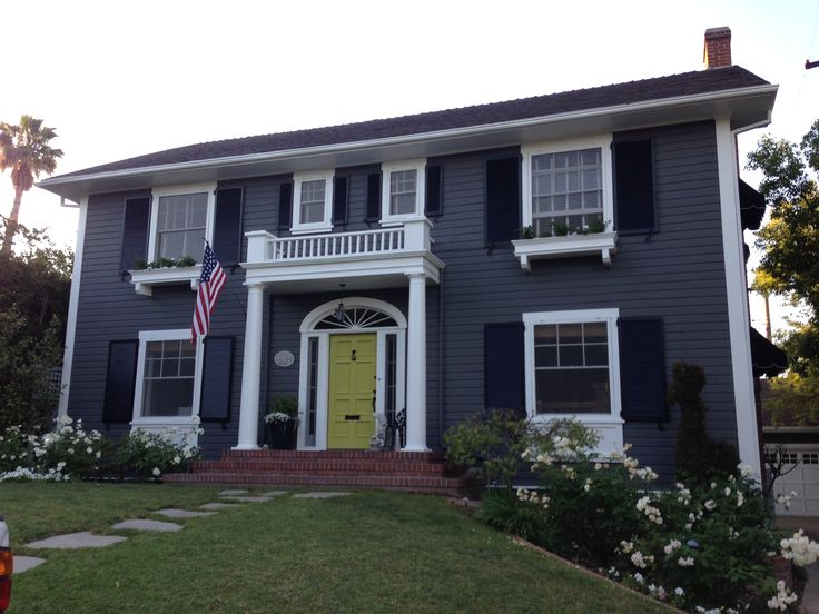 Grey House Green Door Exterior Paint Ideas Pinterest