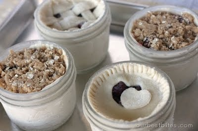 """Single Serving """"Pie in a Jar"""" - half-pint jars that you can freeze until you're ready to bake the pies!"""
