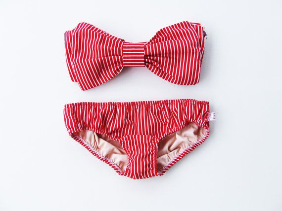 Vintage Bikini Bow Bandeau Swimsuit! Definitely gonna get this!!