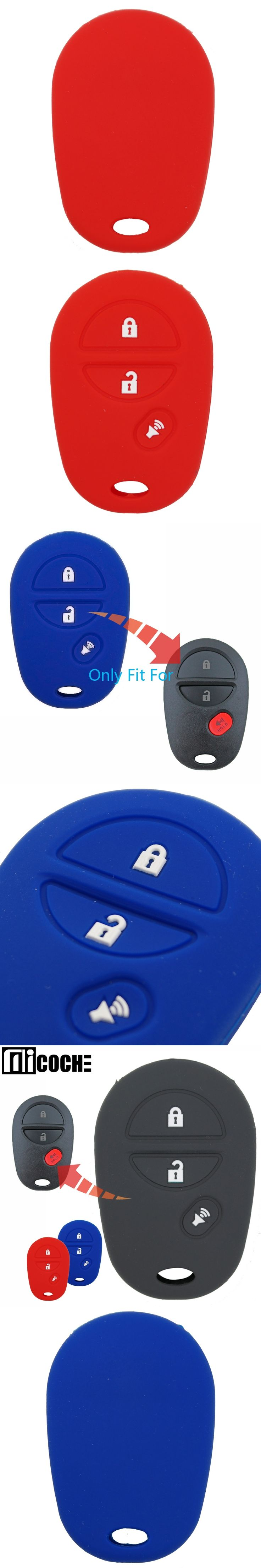 1pcs 3 buttons Car Key Case Cover For Toyota Highlander Tacoma Sienna Tundra Sequoia Auto Key Protector Skin Black Blue Red