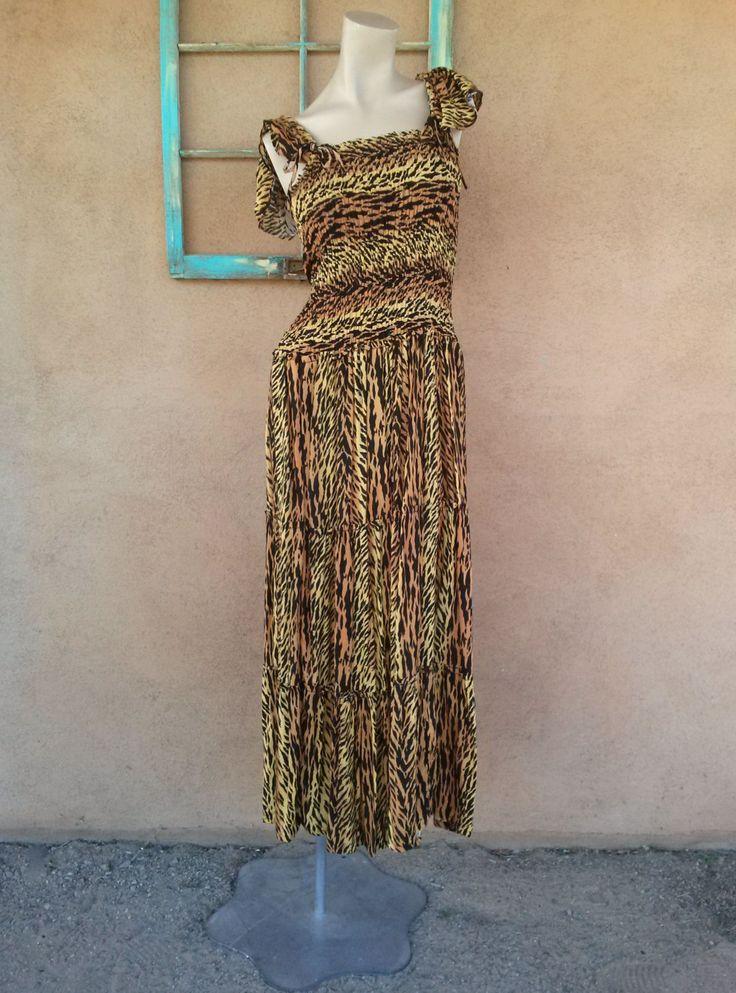 Vintage 1990s Dress Tiger Jungle Rayon Long Maxi Up to US14 B40 2016c - pinned by pin4etsy.com