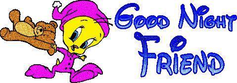 Tweety Says Good Night Friends