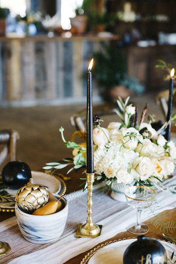 Black taper candles