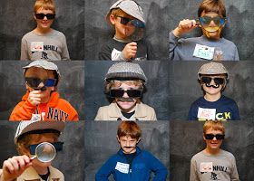 A Detective Party, sent pictures of kids in disguises as part of thank you notes