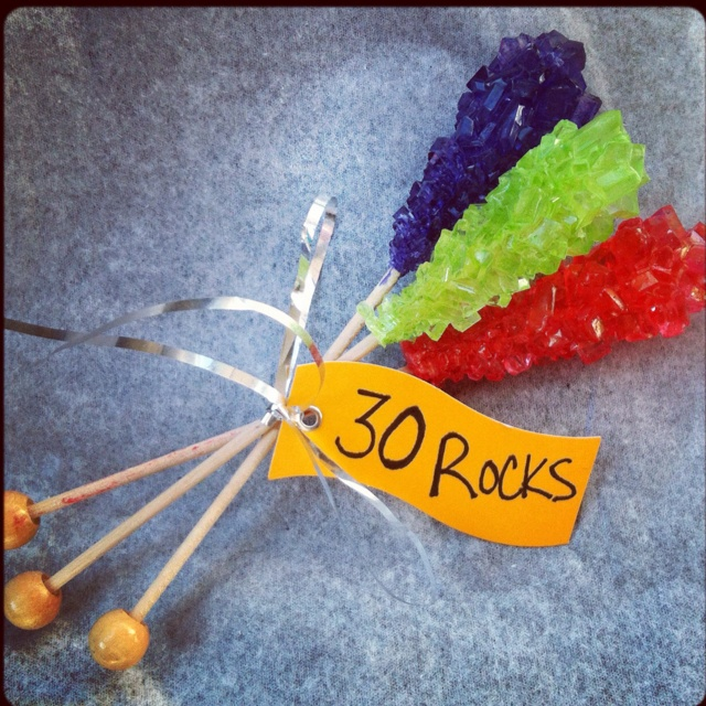 30th Birthday favor. Rock candy purchased at Cracker Barrel.