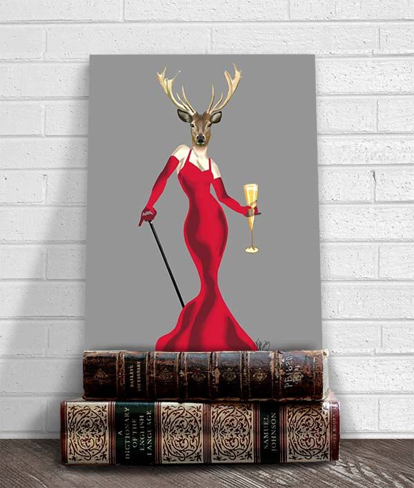 Glamour Deer Red - Deer print deer picture gift for mom funny animal dining room wall art cute gift for girlfriend valentine gift ideas by LoopyLolly on Etsy https://www.etsy.com/listing/158673480/glamour-deer-red-deer-print-deer-picture