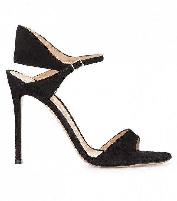 Gianvito Rossi Suede Tapered Ankle-Wrap Sandals ($865)