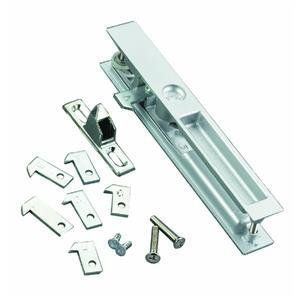 Wright Products-Hampton V1195 Patio Door Hardware Set by Wright. Save 60 Off!. $5.99. ALUM FLUSH PATIO DOOR LATCH. V1195 ALUM FLSH PATIODOOR LTCH. Flush mounted. Fits into a machined pocket in the door stile. Projection in only 1/16'' on inside and outside of patio door. Complete mounting instructions on the skin pack card. Replaces most sets of this style and is reversible for right or left hand application. For 1'' to 1 1/4'' thick doors. 6 1/2'' between attaching screws. Za...