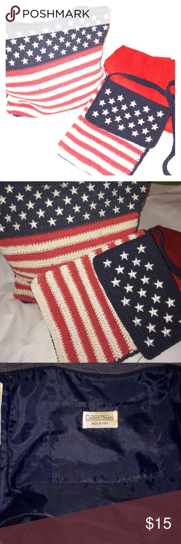 Patriotic Woven Flag Purse & Mini Crossover Purse Woven shoulder purse with red & CREAM stripes, white stars, and navy similar to flag design. Carlos D'Santi Bags Shoulder Bags