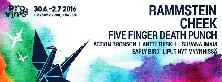 #RAMMSTEIN JA #CHEEK PROVINSSIN ENSIMMÄISET PÄÄESIINTYJÄT Menossa mukana myös #FiveFingerDeathPunch, #ActionBronson, #SilvanaImam ja #AnttiTuisku, lipunmyynti Provinssi 2016 alkaa 1.12. lippu.fissä