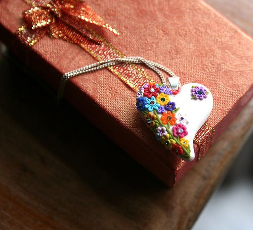 Polymer Clay Flower heart pendent