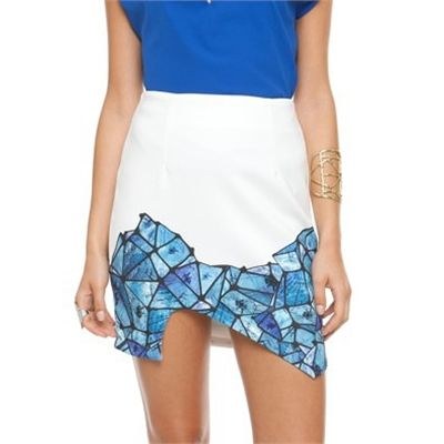 #Indikah Mosaic Printed Skirt Available in White - Fashion Brand Sale