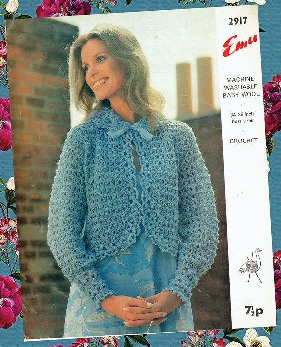 Original 1970s Ladies Womens Bed Jacket Crochet Pattern Blue