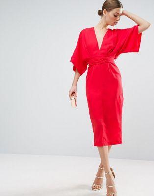 ASOS Kimono Plunge Midi Dress