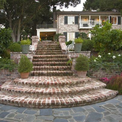 Curved brick steps design ideas pictures remodel and for Brick steps design ideas
