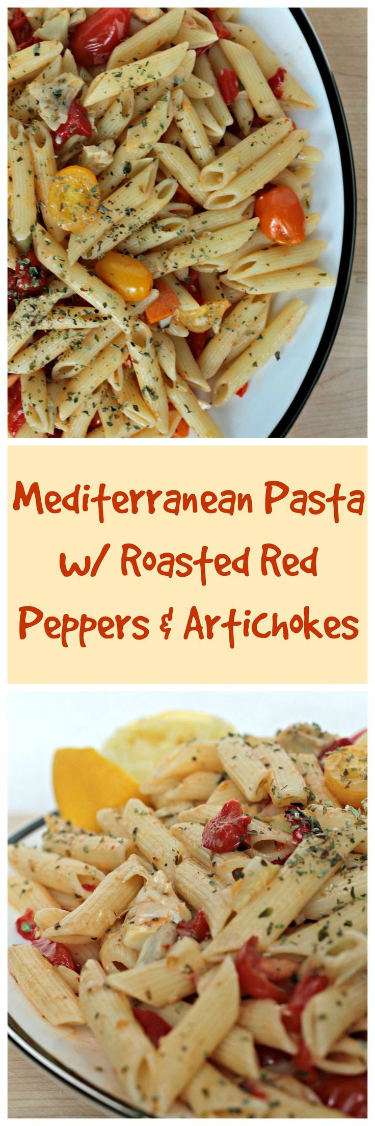 Mediterranean Pasta w/ Roasted Red Peppers & Artichokes - a 20 minutes pasta dish