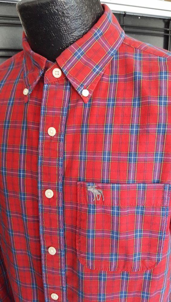 Abercrombie & Fitch Mens Size Medium Red Plaid Button Cotton MUSCLE Shirt Moose #AbercrombieFitch #ButtonFront