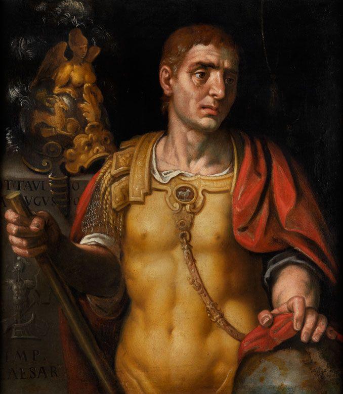 """Veroneser Schule des 17. Jahrhunderts,Alessandro Turchi, genannt """"L'Orbetto"""", 1578 Verona – 1649 Rom, zug.  BILDNIS DES RÖMISCHEN KAISERS OCTAVIUS AUGUSTUS Öl auf Leinwand. 98 x 84 cm. In schönem kassetiertem Rahmen. Zuschreibung durch beigegebene..."""