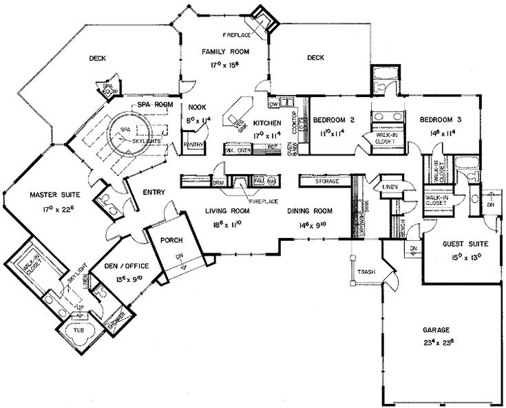 Floor plans aflfpw21128 1 story european home with 5 for One story house plans with connecting in law suite