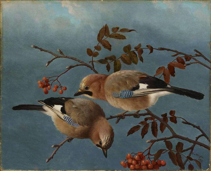"""""""Jays"""" - """"Närhiä"""", 1877 – oil on canvas –  Ferdinand von Wright (1822-1906) - Ateneumin taidemuseo"""