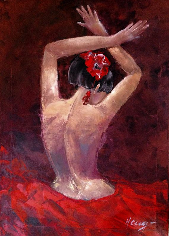 Pittura con i colori ad olio Corpo su tela extra di NatalieCugArt