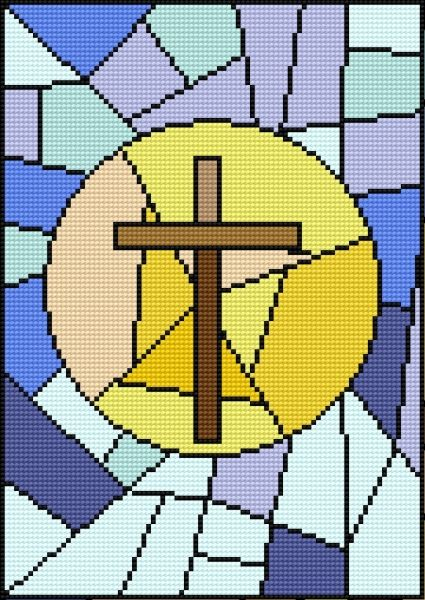 Stained glass with cross (faith)