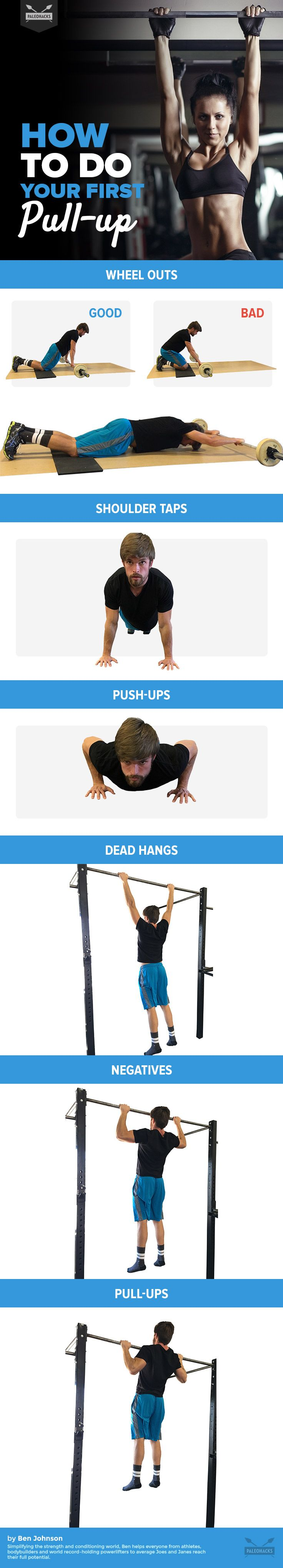 The pull-up is one of the biggest milestones when it comes to upper body strength. Here are easy-to-follow moves to not only get your chin over the bar, but also strengthen your core, chest, and shoulders. For the full workout visit us here: http://paleo.co/firstpullup