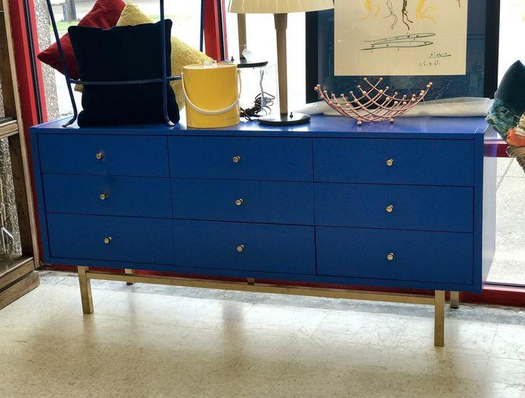 "Blue Dresser On Sale 64"" Wide x 18"" Deep x 29"" High Was $700Sale Price $550Dealer #81Top Drawer Antiques & Mid Mod Shop 10622 E. Northwest Hwy.Dallas, TX 75238"