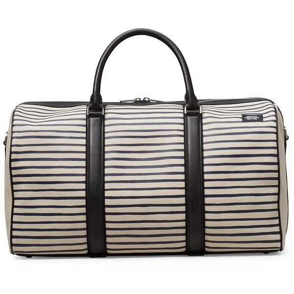 Jack Spade Men's Industrial Canvas Striped Duffle Bag (€530) ❤ liked on Polyvore featuring men's fashion, men's bags, natural navy, mens canvas duffle bag, mens duffle bags, men's duffel bags, mens bag and mens canvas bag