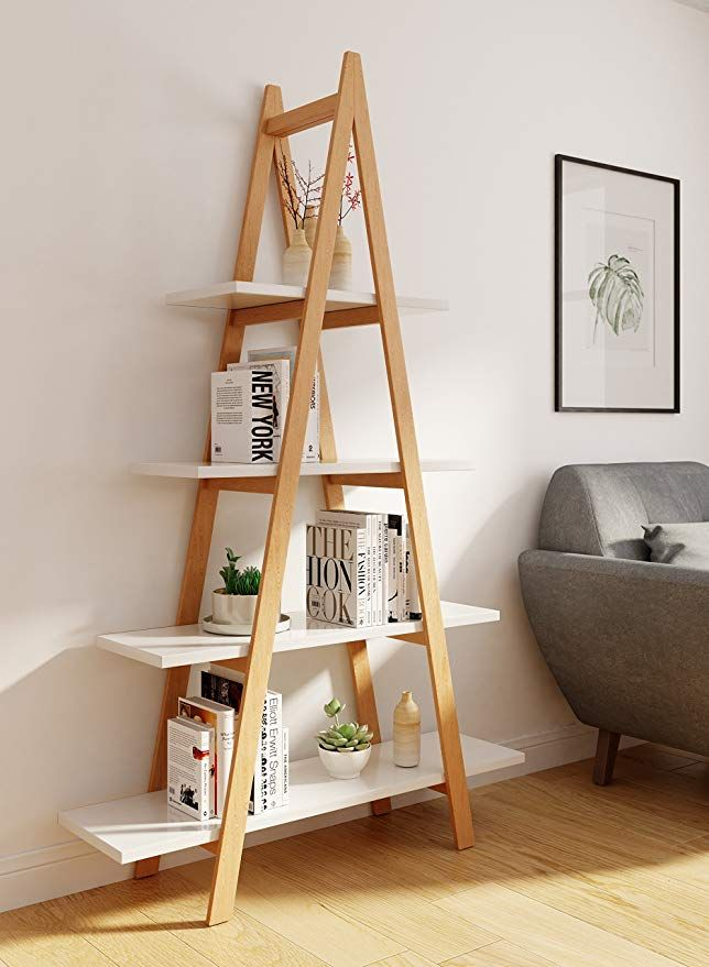 Universal Experts Fubc10008a Abacus Ladder Bookshelf Oak White Ladder Bookshelf Wood Bookshelves Bookshelves