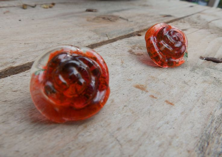 Resin earrings rose with orange color by Handmademyth on Etsy