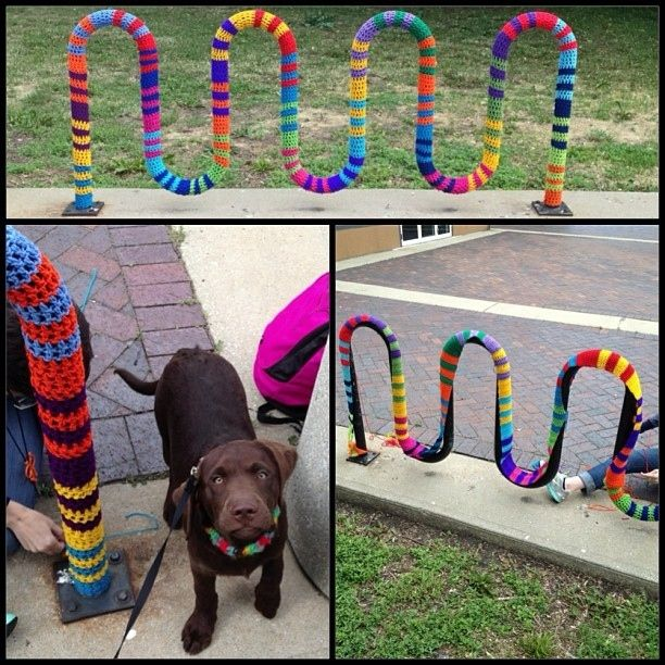 This was done in Toledo, Ohio.  I love yarn bombing.  It takes the ordinary and makes it into unexpectedly pretty.