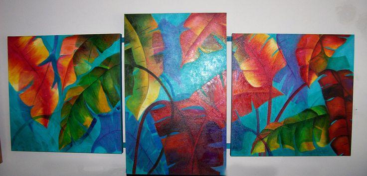 Triptico hojas en oleo mis cuadros pinterest for Cuadros tripticos online