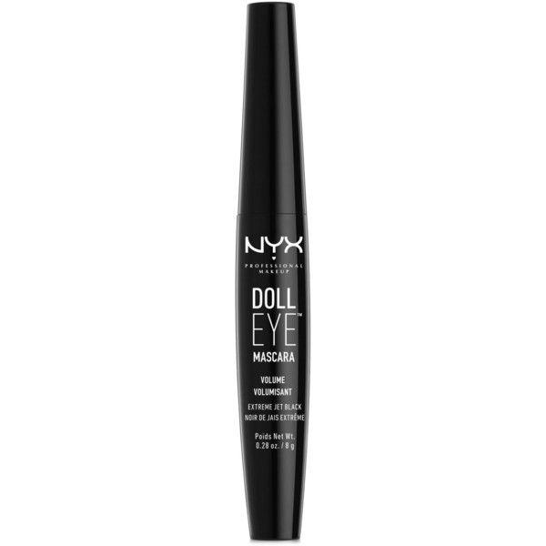 Nyx Professional Makeup Doll Eye Mascara ($9.50) ❤ liked on Polyvore featuring beauty products, makeup, eye makeup, mascara, long eye jet black, lengthening mascara, nyx and nyx mascara