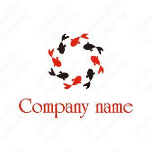 ロゴマーク「金魚のマーク」[和モダン/縁起/輪](小売、物販、サービス、ペット、教育)