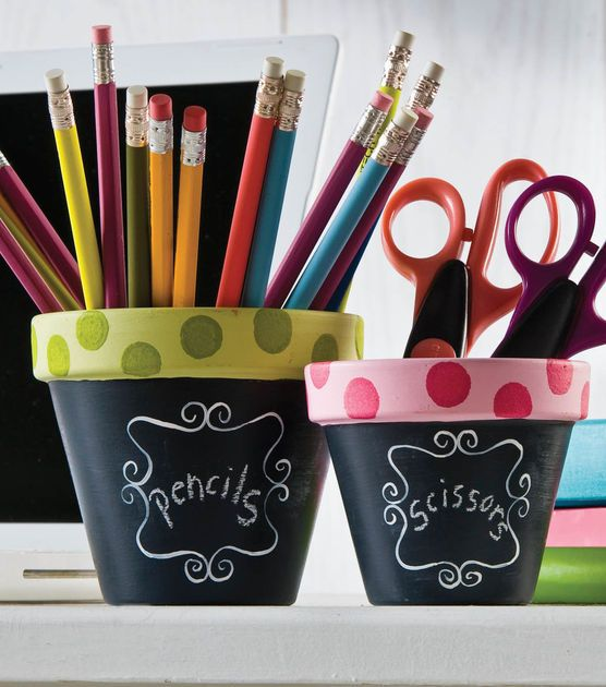 Functional Polka Dot Chalkboard Flower Pots. #Craft out of new flower pots. |Visit Joann.com or Jo-Ann Fabric and Craft stores for supplies.