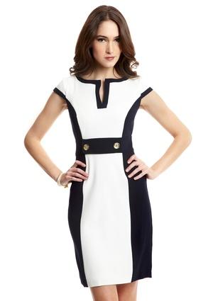 SANDRA DARREN Button-Waist Sheath Dress