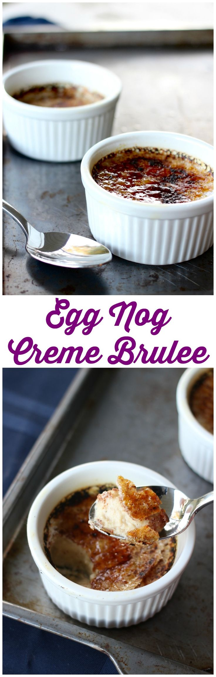 This Creme Brulee is a very simple dessert that will wow your friends and family with a creamy egg nog flavor, perfect for the holidays. #dessert #recipe