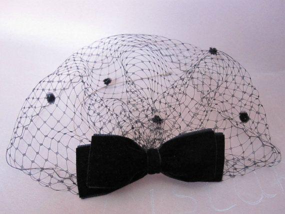 black birdcage veil with velvet bow wedding by LisLarsonHats                                                                                                                                                     More