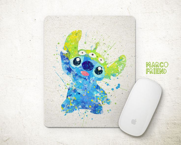 stitch disney watercolor art mouse pad mousepad mouse