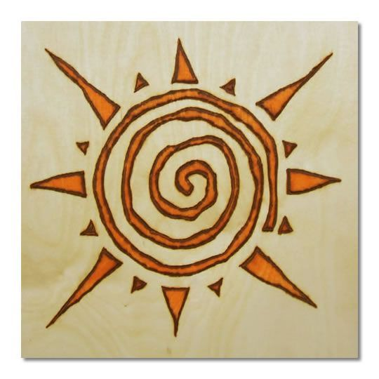 Tribal sun. For anyone who hasn't tried burning a spiral yet this might be a good starting point. I find spirals are quite difficult to get just right & this design forgives the odd wobble or 2 ;):