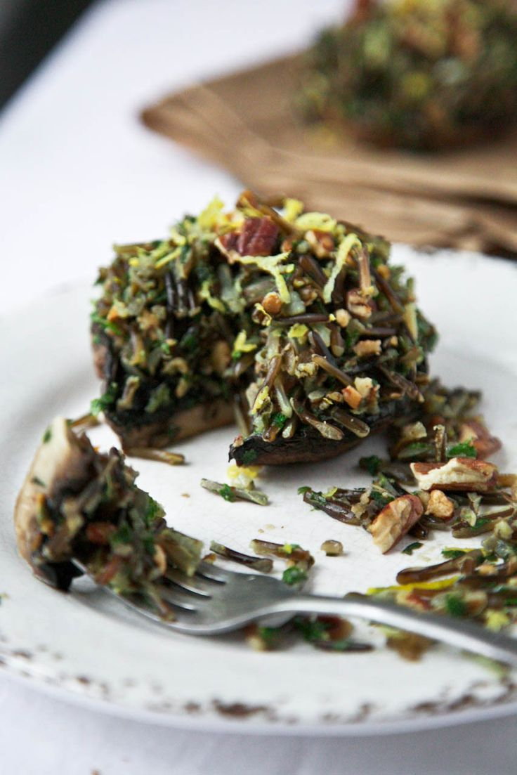Herbed Wild Rice & Toasted Pecan Stuffed Portobellos // www.thegreenlife.ca: Herbed Wild Rice & Toasted Pecan Stuffed Portobellos // www.thegreenlife.ca