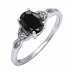 Sterling Silver Black Sapphire & White Diamond Women's Ring (1.73 cttw, Available in size 5, 6, 7, 8, 9)by Gem Stone King