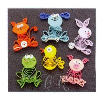 """Animal Buddies Quilling Kit Custom Quilling Supplies - A wonderful combination of miniature techniques, basic quilling, and tight circles are used in this kit. Instructions to make six cute animals. Includes 1/8"""" paper and wiggly eyes... www.customquilling.com by marina"""